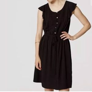 LOFT Black Pintucked Flutter Dress Size Small
